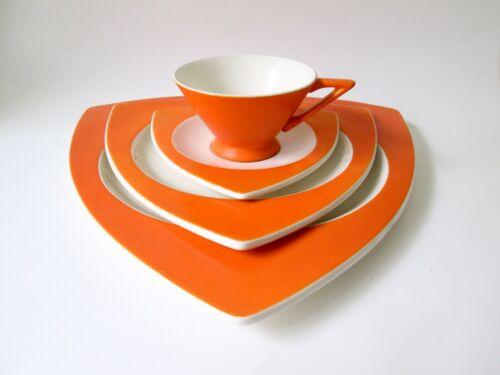 "4-Pc SET Salem Tricorne Orange Art Deco Cup Saucer 12"" Dinner 9"" Salad Plate"
