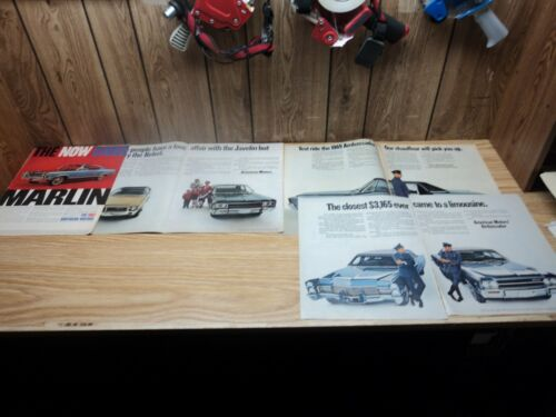 Lot (4) AMC Rambler 1967 Marlin 1968 Javelin Rebel 1969 Ambassador SST Print Ad