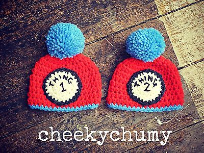 Thing 1 and Thing 2 beanie hat great for twins Photo photography prop. Newborn. (Thing 1 And Thing 2 Baby Hats)