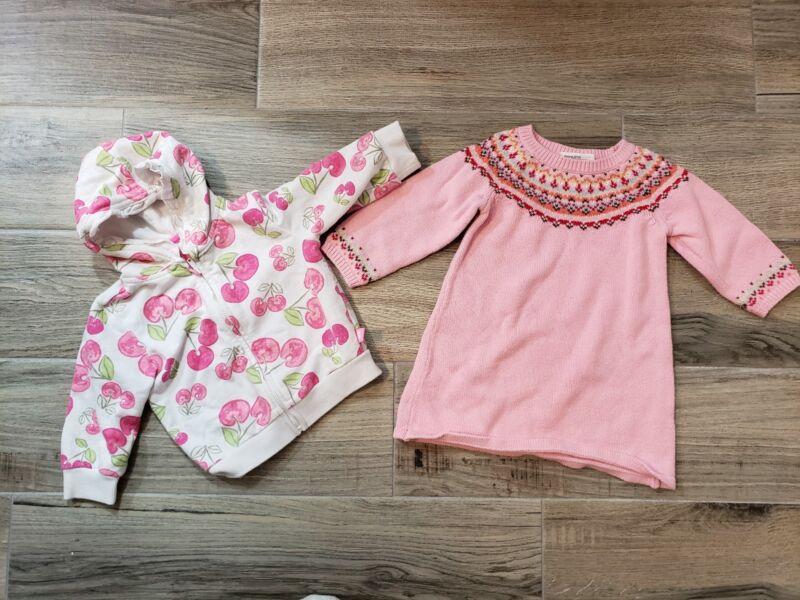 Lot Of 2 Baby Girl 9 Months Zip Up Cherry Hoodie Osh Kosh Sweater Dress