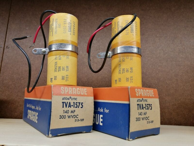 NOS Sprague Electrolytic Capacitor Pair 140mf 300vdc TVA-1575