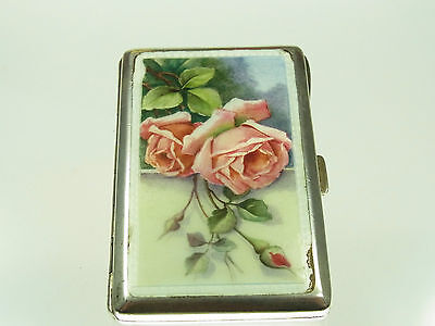 Wunderschönes antikes Emaille Etui 900 Silber mit roten Rosenstrauß um 1920