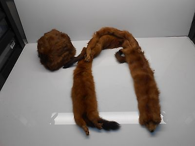Vintage Fully Body Mink Stole Scarf Collar Wrap Head Arms Tail Fur Hat  -