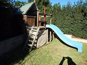 WOODEN CUBBY HOUSE WITH ROCK CLIMBING WALL AND SLIDE Camden Park Wollondilly Area Preview