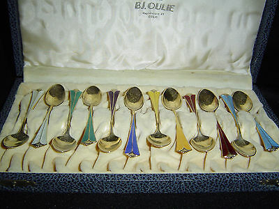 Set of 12 Norwegian David Andersen -925S Enamel 12 Radhus Med Vifte boxed spoons
