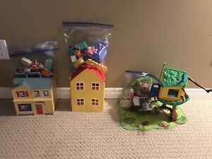 Various toy sets. Olivia the pig, Caillou and Peppa Pig