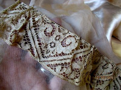 "ANTIQUE VICTORIAN COTTON FLEUR DE LYS TRIM 19th CAPE SALVAGE 33.5"" x 2 1/4"""
