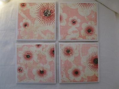 Ceramic Tile Coaster Set - Handmade - Pink Peach Off White Brown Floral Pattern