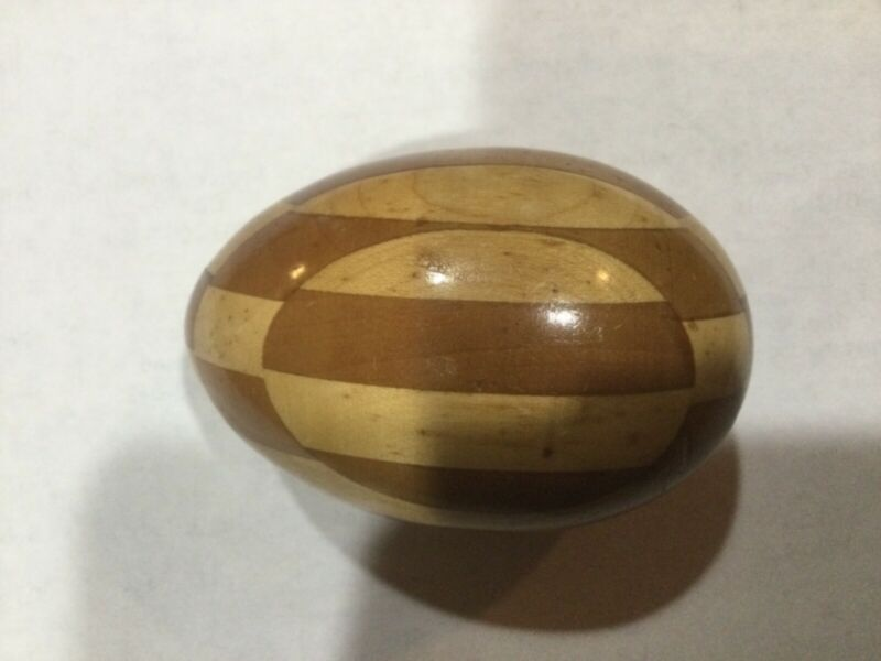 Inlaid wood darning egg from Germany
