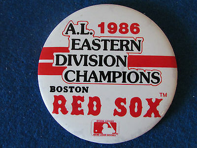 Boston Red Sox Baseball Large Button Badge - 1986 A.L.Eastern Division Champions
