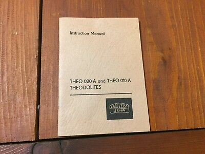 Carl Zess Jena Theo 020a Theo 010a Theodolites Instruction Manual Surveyor