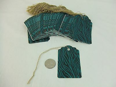 100 Large Scalloped Zebra Turquoise String Tags Price Tag Gift Tag 2 X 3 14