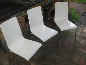 3 x Dining Chairs (HIREK) Made In Italy (Modern / Slim / White) Solid