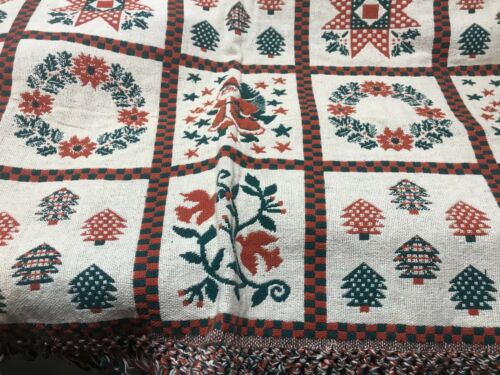 HEAVY WOVEN TAPESTRY THROW BLANKET VINTAGE FOLK ART PATCHWORK DESIGN HOLIDAY CHR