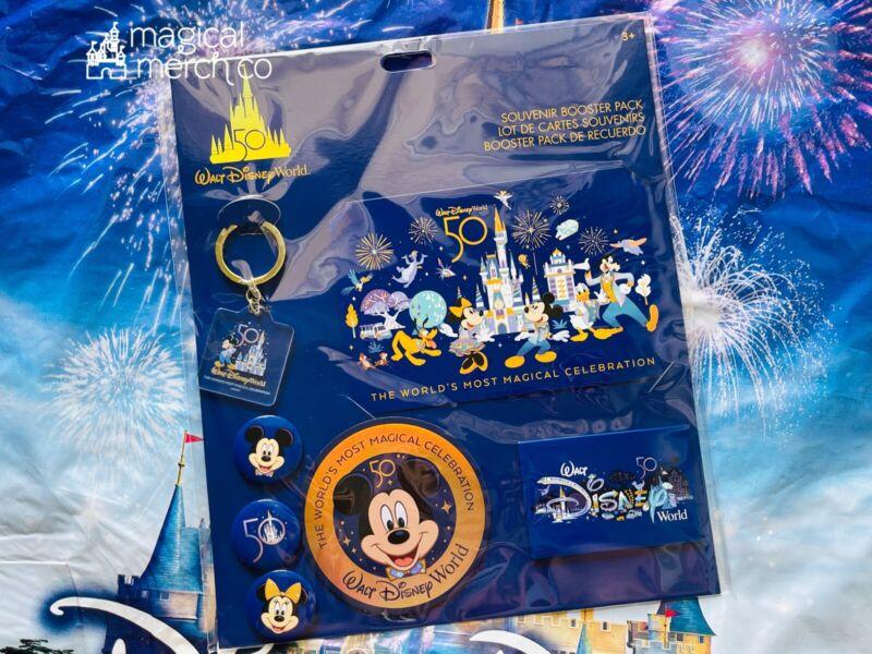 2021 Disney Parks 50th Celebration Souvenir Booster Pack Key Sticker Button