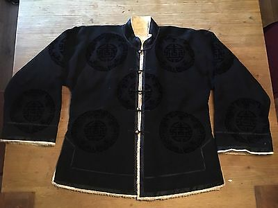 Antique Chinese Silk velvet Embroidered Fur Lined Robe