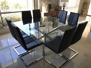 Square glass dining table and chairs