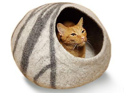 Meowfia Premium Felt Cat Cave Bed (Large) - Eco Friendly 100% Merino Wool Bed -
