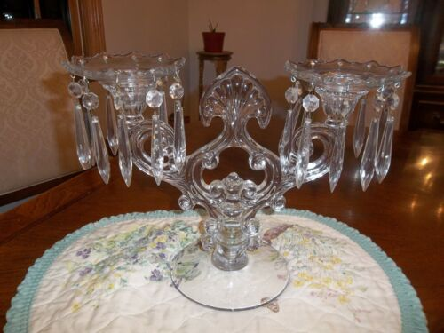 Cambridge 2 Light Candelabra with Bobeche and Prisms