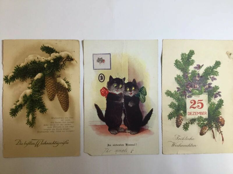 LOT 3 1900's German Christmas Postcards