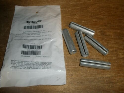 """(Qty.5) 1/2"""" X 2"""" Slotted Spring Pin Zinc Plated Steel"""