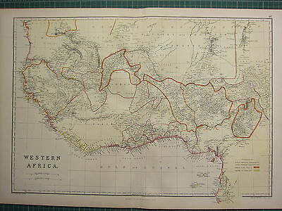 1882 LARGE ANTIQUE MAP ~ WESTERN AFRICA BRITISH & FRENCH SETTLEMENTS ASHANTEE