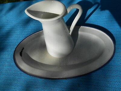 Retro Blechgeschirr - 2 - teilig Farbe weiss/blau - Deko sehr schön - alt