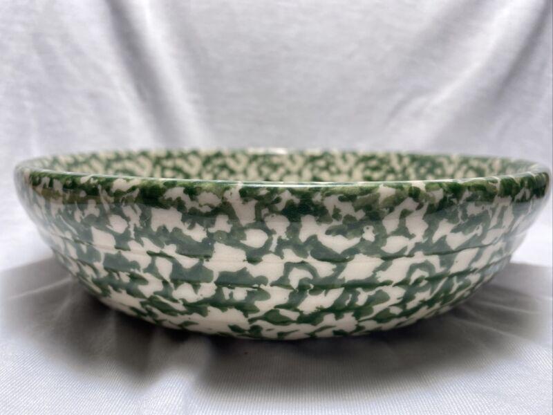 Henn Pottery, Green Spongeware, Vegetable Serving Dish, Artist Signed Stoneware