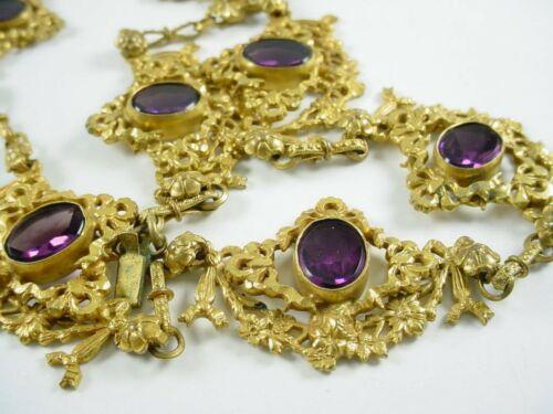 Georgian Antique Gilt-Metal Amethyst Paste Necklace