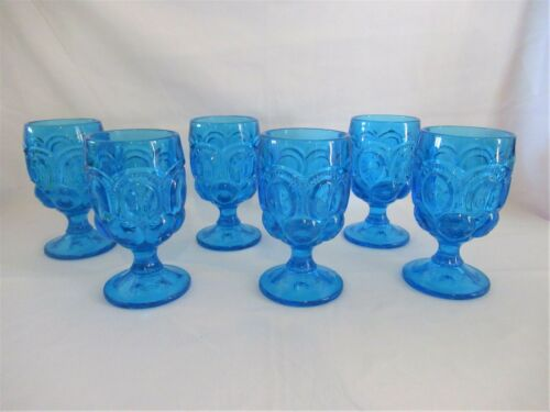 """(Set of 6) LE SMITH MOON & STARS PEACOCK BLUE GLASS  6"""" GOBLETS"""