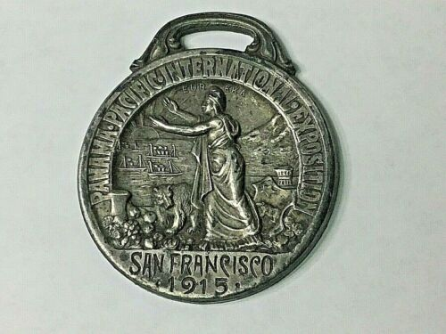 Vintage Watch Fob Panama-Pacific Exposition San Francisco 1915 Silver over Brass