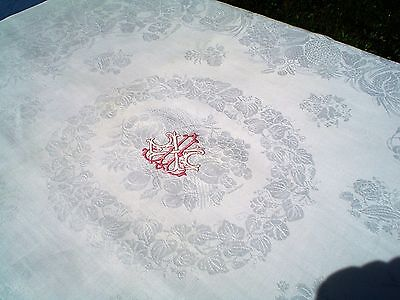 Antique Pure Linen Damask Tablecloth w/Embroidered Cartouche & Satin Finish