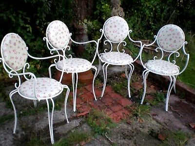 REDUCED! VINTAGE SHABBY CHIC CAST IRON FRENCH STYLE CAFE PATIO GARDEN CHAIRS