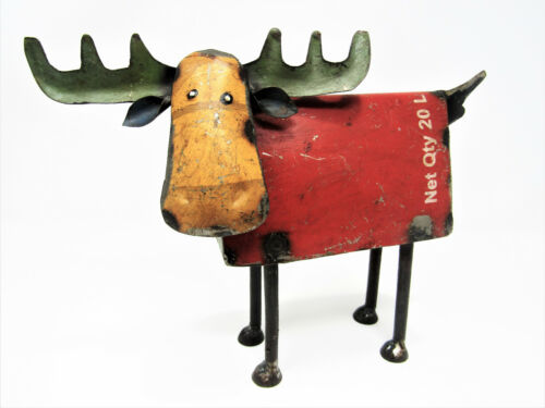 "Rustic Small 8"" Tall Repurposed Scrap Metal Moose Statue Home Farm Garden Lodge"