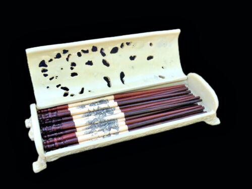 Vintage Asian Dragon Chopstick Case w/ 10 pair chopsticks