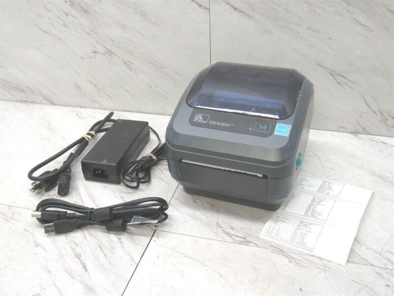 Zebra GK420d Thermal Label Barcode Printer USB Ethernet w/ AC & USB Cable