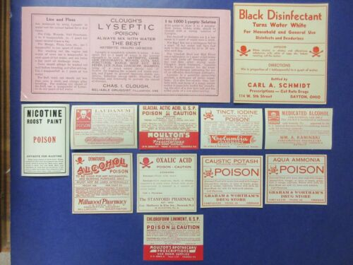 12-OLD LARGE POISON  PHARMACY-APOTHECARY-DRUG STORE  MEDICINE BOTTLE LABEL LOT=