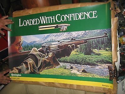 """Vintage Remington Loaded with confidence 35"""" by 23"""" poster  NICE"""
