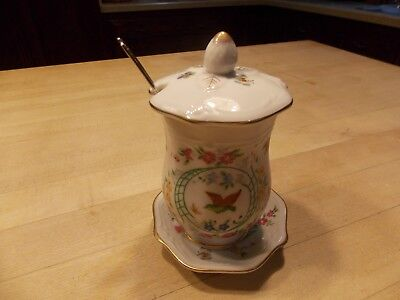 ( Vtg Ardalt Hand Painted China Lenwile Jam Jar HTF Pattern 6705)