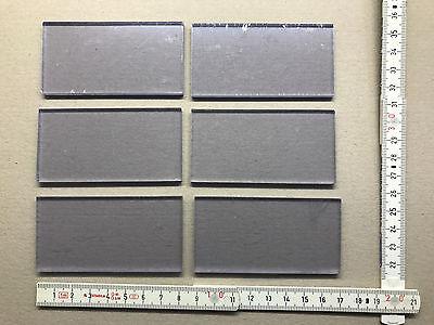6 Stück Hart PVC Platte glasklar mit Schutzfolie 42x82mm, neu