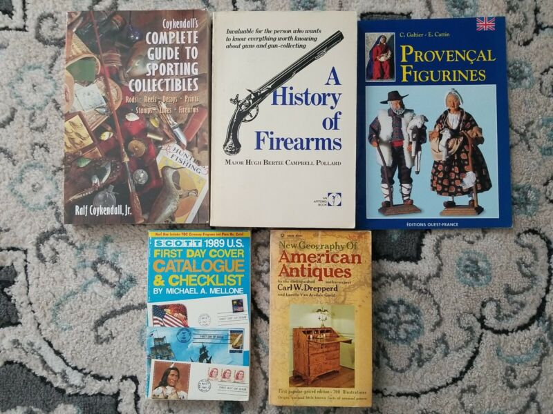 Lot of 5 Antique Collecting Books. Sporting Collectibles Rifles Stamps Antiques