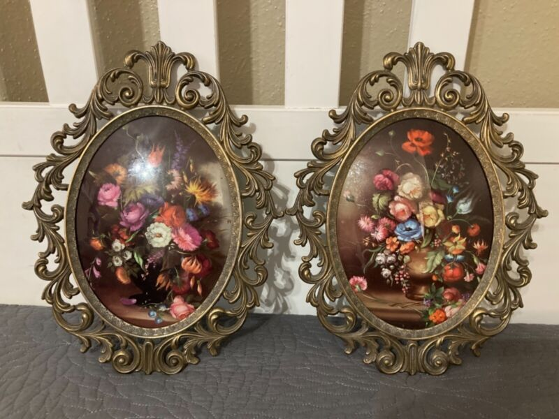 Vintage Set Floral Flowers Print Oval Metal Scroll Picture Frame Made In Italy