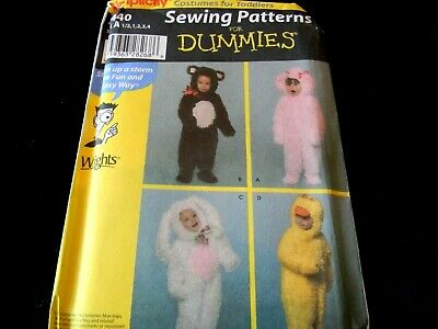 Simplicity Sewing for Dummies Costumes for Toddlers 4440 Bear Poodle Rabbit Duck