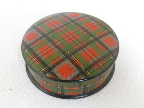 Antique Tartan Ware Wood Round Box Prince Charlie