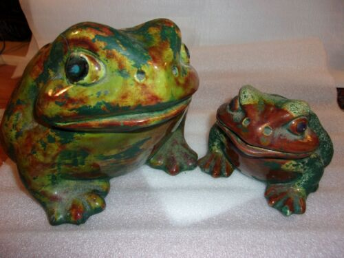 Vintage 2 Ceramic Frogs/Toad Glazed Large Garden Yard Figurines       lot 349