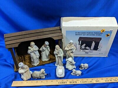 12PC Hand Painted Porcelain Nativity Set w/Stable in Box VTG Xmas Decor 90s