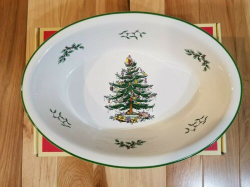 "Spode Christmas Tree Oval Rim Dish 12.5"" NEW"