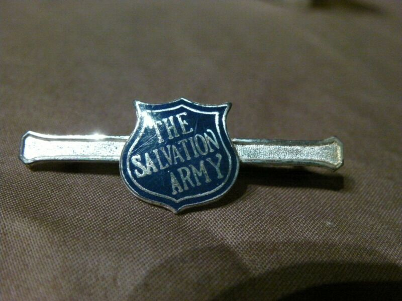 VINTAGE STERLING SILVER SALVATION ARMY BLUE SHIELD PIN Uniform Badge Insignia