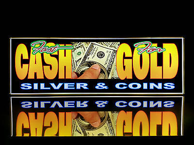 Business Led Lighted Box Sign Fast Cash For Gold Silver Coins