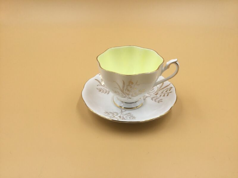 Queen Anne Tea Cup And Saucer - White - Gold Leaves-Lilies of the Valley Design